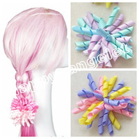 "Wholesale Grosgrain Bows Hair Flowers - 10pcs girl 4"" korker Hair bows clips curly grosgrain ribbon ponytail Corker satin hairband flowers bobbles hair ties elastic headband PD007"