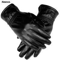 Wholesale Male Genuine Leather Gloves - Wholesale-Free Shipping Christmas gift male sheepskin gloves winter thermal genuine leather gloves male thin driving gloves