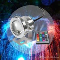12v acuario luces led al por mayor-DHL 16 Colores 10 W 12 V RGB LED Fuente Subacuática Luz 1000LM Piscina Estanque Tanque de Peces Acuario Lámpara de Luz LED IP68 A Prueba de agua