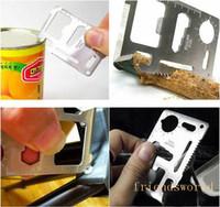 ücretsiz nakliye swiss bıçakları toptan satış-Mini Paslanmaz Çelik Çok Cep 11 1 Kredi Kartı Aracı taşınabilir Açık Survival Kamp Cüzdan Kart Araçları Bıçak Ile DHL Ücretsiz Kargo