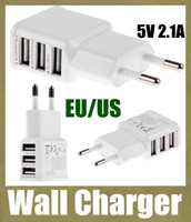 Wholesale Usb Ac Power Supply Wall - 3 USB Port 2.1V 5v AC Adapter US EU Plug Wall Charger Adapter for iPhone 6 5S iPad Samsung HTC LG Smartphone Tablet fast power supply CAB054