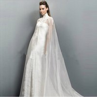 Wholesale Exclusive Bridal Dresses - Exclusive Management 2015 Collection Appliques Wedding Dress Cloak High Neck Bridal Long Cape 100% High Quality