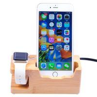 apfel wiege ladung großhandel-Multifunktionale Holz Ladestation Ladestation Stock Cradle Halter für iWtach Apple Watch iPhones (US-Stecker)