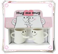 Wholesale Lovers Cup - 1505-Creative ceramic mug   expressions hug right cup   couple cups   mug of coffee lover mugs hug mug 2pcs lot white color-Wholesale