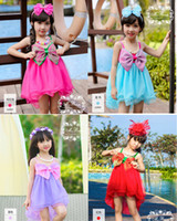 Wholesale Coloured Suspenders - Gilr dress summer new large bow candy colored Gauze Suspenders princess Dress children dress 4 colour C001