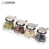 Atacado- Gohide European Flavour Glass Spice Bottle Stainless Steel Cruet Set Seasoning Box Caixa de temperos Cozinha Seasoning Spice Rack