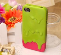 Wholesale Melt Ice Cream Cases - Wholesale-New Style Cute 3D Melt Ice Cream Hard Back Cover Skin Case For iPhone 4 4S PT2006