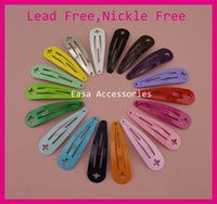 Wholesale kids hair snaps - 50PCS Assorted Colors mm quot plain Round Head Tear drop Metal Snap Clip with Cross Hook at lead free nickle free kids hair accessories