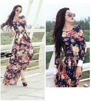 Wholesale womens long chiffon maxi skirt - Maxi Dress Long Dress Maxi Dress Fashion Womens Elegant Flora Print and Long Sleeve Long Dress Hot Womens Waist and Slim Skirt