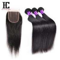 Wholesale 7a human hair closure resale online - Brazilian Straight Hair With Closure Bundles Human Hair Weave With Closure A Unprocessed Virgin Hair Brazilian Straight HC Hair