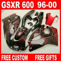 98 carenados srad al por mayor-Personalizar pintura Kit de carenado para SUZUKI SRAD GSXR600 96 97 98 99 00 GSXR750 carenados llamas rojas gsxr 600 750 1996 1997 1998 1999 2000 5M6G