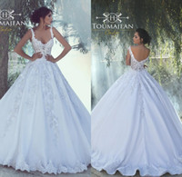 Wholesale Open Back Fitted Wedding Dresses - 2018 Arabic A Line Wedding Dresses Sweetheart Fitted Lace Appliques Robe De Soiree Sexy Open Back Ball Gown Bridal Gowns with Court Train