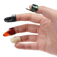 Wholesale Celluloid Finger Picks - 3 pcs lot Plastic 1 Thumb And 3 Finger Nail Guitar Picks Plectrums Set Accessories