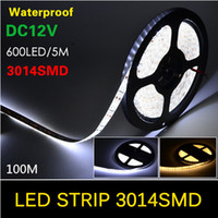 Impermeabile 5M SMD 3014 LED Strip 600LEDs / 5M Flessibile DC 12V light, Chip più piccolo di 5730/5050 SMD, Bianco / Warm White Christmas