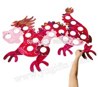 Wholesale Paint Wood Frames - Wholesale-1SET LOT,Puzzle dragon picture frame,Paint your own early educational toys,Kindergarten team game.Home decor.76x101.5cm.onstock