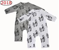 Wholesale Baby Winter Leopard Rompers - Ins Bear Full Print Rompers Jumpsuits Newborn Baby boys Sleepwear Long sleeve Cartoon Mother baby Bear Print Cotton Autumn Winter 0-12m