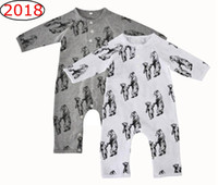 Ins Bear Full Print Pagliaccetti Tute Newborn Baby boys Sleepwear Manica lunga Cartoon Mother baby Bear Stampa Cotone Autunno Inverno 0-12m
