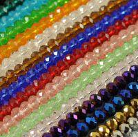 glasperlen lose 8mm großhandel-Neue facettierte gemischte Kristall Rondelle lose Charme Glas Spacer Perlen Schmuck 21 Farben 6mm 8mm