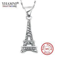 colar de prata das torres eiffel venda por atacado-YHAMNI Jóias Finas 100% 925 Torre Eiffel Pingente de Colar de Prata Com S925 Selo New Trendy Declaração Colar Para As Mulheres N025