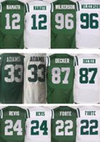 Men's Elite # 22 Matt Forte 12 Joe Namath 24 Darrelle Revis # 33 Jamal Adams 87 Eric Decker Verde Bianco Ricami Loghi