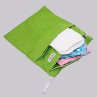 Wholesale Solid Wet Bag - 42Pc Fedex UPS 9 Solid Colors AI2 Baby Diaper Wet Bags Mommy Wet Diaper Bags Infant 2 Zippers Pockets Bags Waterproof TPU Diapers