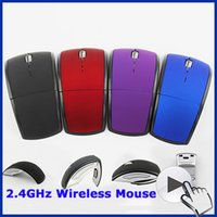 Wholesale Cheap Thin Laptops - Wholesale-2015 New Brand DPI 1200 Ultra Thin Optical Computer Mouse Foldable Cheap Arc Touch Mouse Wireless for PC Laptop