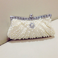 Wholesale Ivory Bridal Hand Bags - Cheap Pearls Hobos Ivory Bridal Hand Bags 2015 Hot Style Fashion Women Beaded Clutch Bags For Party Evening EN8216