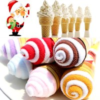 Wholesale Towel Valentine Gifts - 6 pcs Set Portable Ice Cream Towels Shaped Double Color Christmas Towel Christmas Decoration for Home Valentines Birthday Gifts
