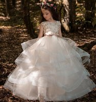 Wholesale custom printed satin ribbon - Lace Long Sleeves Ruched Tulle Flower Girls Dresses Tutu Dress First Communion Dress Custom Made Kids Holy Wedding Gowns
