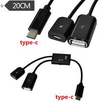 usb 3.1 c hub toptan satış-20 cm 2 in 1 USB-C 3.1 tip c Erkek USB 2.0 A + Mikro Kadın Ev Sahibi OTG Hub Kablo