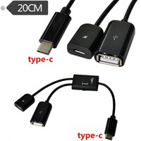 Type-C Universal  20cm 2 in 1 USB-C 3.1 type c Male To USB 2.0 A + Micro Female Host OTG Hub Cable