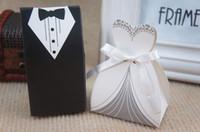 neue brautboxen großhandel-Freie Shipping + New Ankunftsbraut- und -bräutigamkastenhochzeitskästen bevorzugen die Kästen, die Bevorzugungen, 50pairs = 100pcs / lot Wedding sind