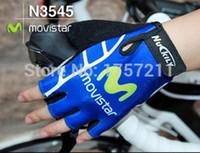 Wholesale Gloves Movistar - Wholesale-Movistar blue half finger gloves mountain biking gloves outdoor wear cheap sports cycle glove best team edition free shipping