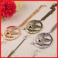 Wholesale Hunger Games Charm Bracelet - Film The Hunger Games badge double face Mockingjay charm bracelets Siamese Bracelets finger rings movie statement jewelry 3 colors 160467