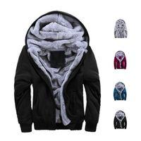 Wholesale Black Jacket Red Zip Mens - S5Q Mens Winter Thicken Warmth Sweatshirts Jackets Thick Velvet Hooded Zip Coats AAAFLY