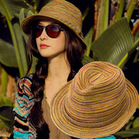Wholesale Rainbow Grass - Summer Women Girl Colorful Striped Straw Beach Sun Hat Rainbow Foldable Wide Brim Panama Cap