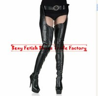 "Wholesale High Boots Heels Thigh Zipper - HOT Crotch boots wtih belt 15cm heel thigh high boots sexy 6"" high heels pu matt platform boots zipper over the knee SEXY FETISH BDSM boots"