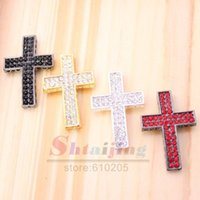 Wholesale Heart Sideways Connectors - Wholesale-Wholesales 2.4*3.1cm with heart hole black with red crystal two row rhinestone sideways bend crosses connectors for bracelets