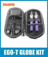 Wholesale Ego Tank Double Kits - EGO-T Glass Globe Double E Cigarette Starter Kit Ego-T Wax Atomizer Vaporizer 650mah 900mah 1100mah Globe Tank Vaporizer Pen CA0008