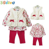 Wholesale Leopard Vest For Baby Girls - Wholesale- Sodawn New Baby Girls Clothing 3pcs Set For Winter Long Sleeve Shirt+Leopard Pants+Fleece Vest Children Brand Clothing Suit