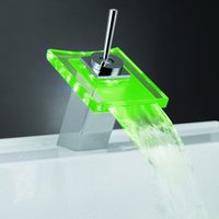 Wholesale Color Changing Green Led Faucet - 1 pc Free shipping Temperature control 3 colors (Blue, green, red) Brass Color Change Glass LED Faucet