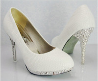 Wholesale Lowest Price Party Shoes - Hot Sales White Snakeskin Bridal Wedding Dress Shoes High - heeled Shoes Dance Shoes Size 35-39 Low Price Women Shoes Free shipping