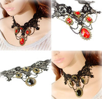 Wholesale Victorian Chokers - Vintage Gothic Lolita Punk Crystal Choker Necklace Black Victorian Style Resin Tassel Vampire SteampunkTorques Jewellery Pendant Hot Sale