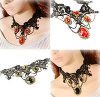 klasik tarz mücevherler toptan satış-Vintage Gotik Lolita Punk Kristal Gerdanlık Kolye Siyah Victoria Tarzı Reçine Püskül Vampir SteampunkTorques Mücevherat Kolye Sıcak Satış