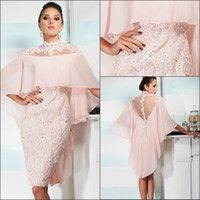 Wholesale mother groom chiffon knee length dresses for sale - Group buy 2019 Pink Mother Of Bride Groom Dresses Sheath High Neck Sheer Back Knee Length Lace Appliqued Beads Mother Dresses BO8482