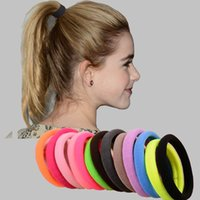 Wholesale Band Ornament - 100Pcs Lot Hair Ornaments Big Size Candy Colored Quality Elastic Ponytail Holders Accessories Girl Women Hair Rubber Bands Tie Gum