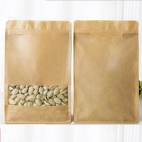 Wholesale Gusset Bags Wholesale - 100pcs Kraft Paper Stand Up Bags eight multiple side sealed side bottom gusset Zip Lock Bag With Matte Window Food Grade Pouch 100pcs