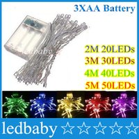 mini luces led con pilas al por mayor-2M 20LEDs 3M 30LEDs 4M 40LEDs 5M 50LEDs string MINI FAIRY LIGHTS BATTERY Power OPERATED for Christmas Wedding Decoration