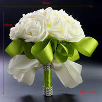 Wholesale Cheap Crystal Beads Decoration - 2015 Hot Bridal Wedding Bouquet Wedding Decoration Artificial Bridesmaid Bouquets Beads Crystal Fake Flower Rose Cream Green Cheap
