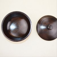black rice salad - Wood Soup Rice Bowl Handmade Wooden Black Salad Bowls with Cover